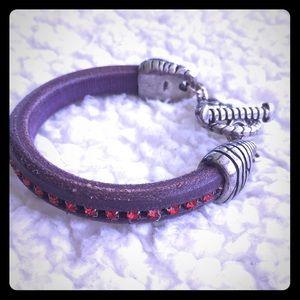 Jewelry - Handmade Purple Leather Bracelet